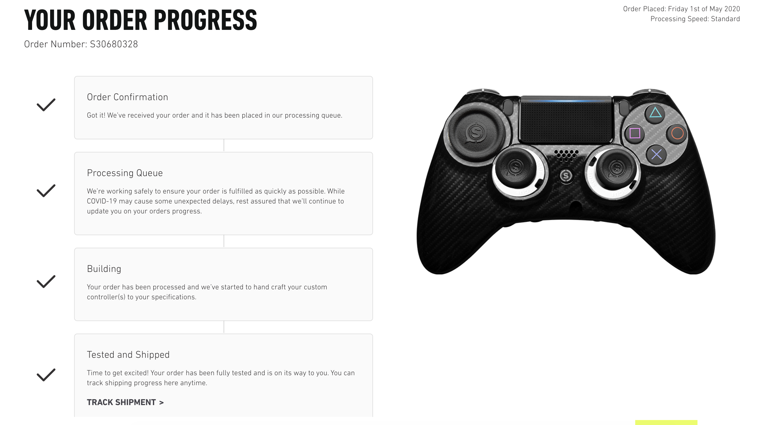 What Does Processing Mean On The Order Tracker Scuf Gaming Support