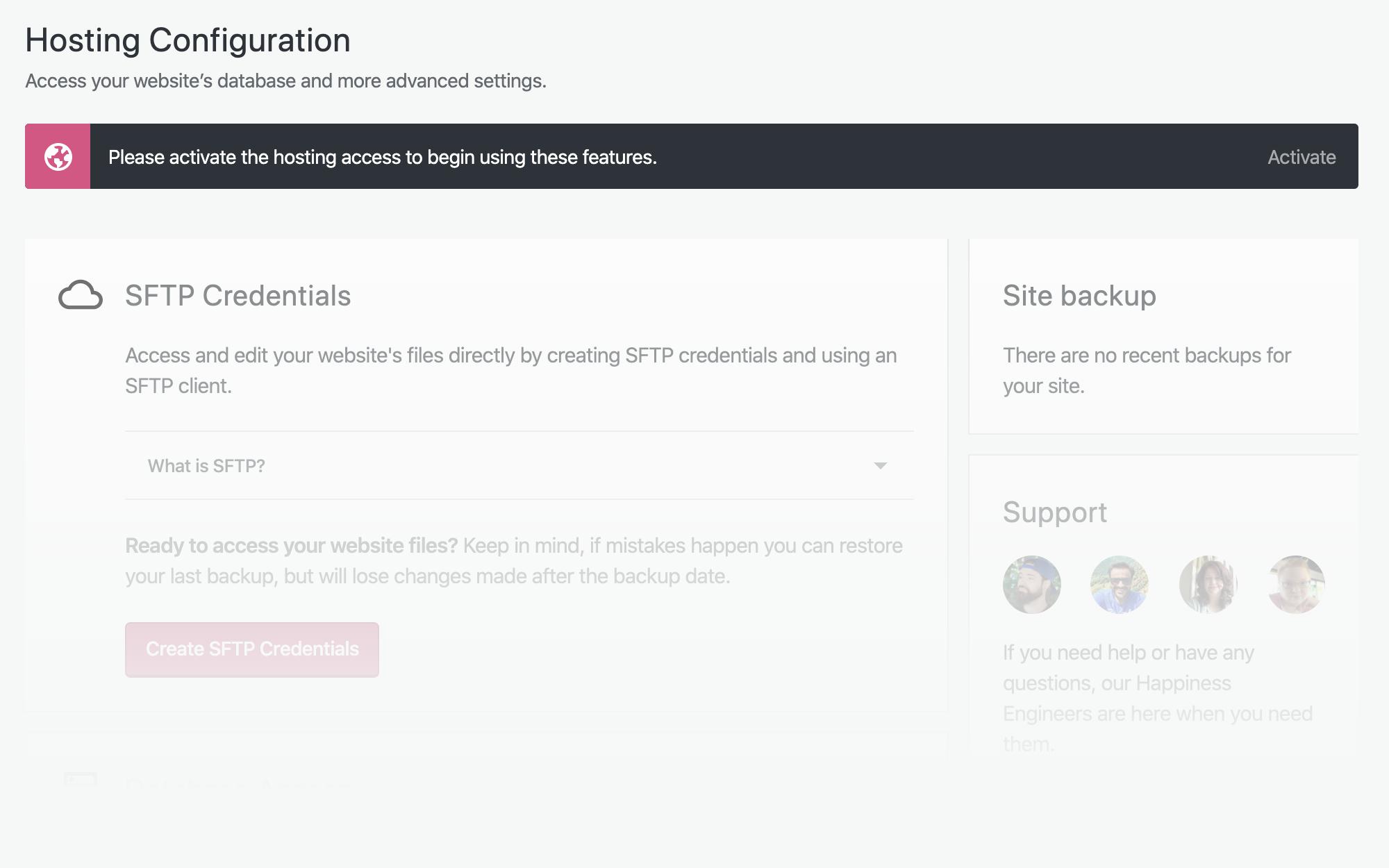 Uma captura de tela da página Configuração de hospedagem com um aviso para ativar o acesso à hospedagem para começar a usar essas funcionalidades.