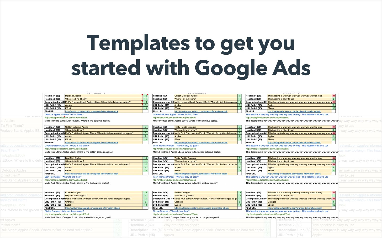 Google Ads planning template.