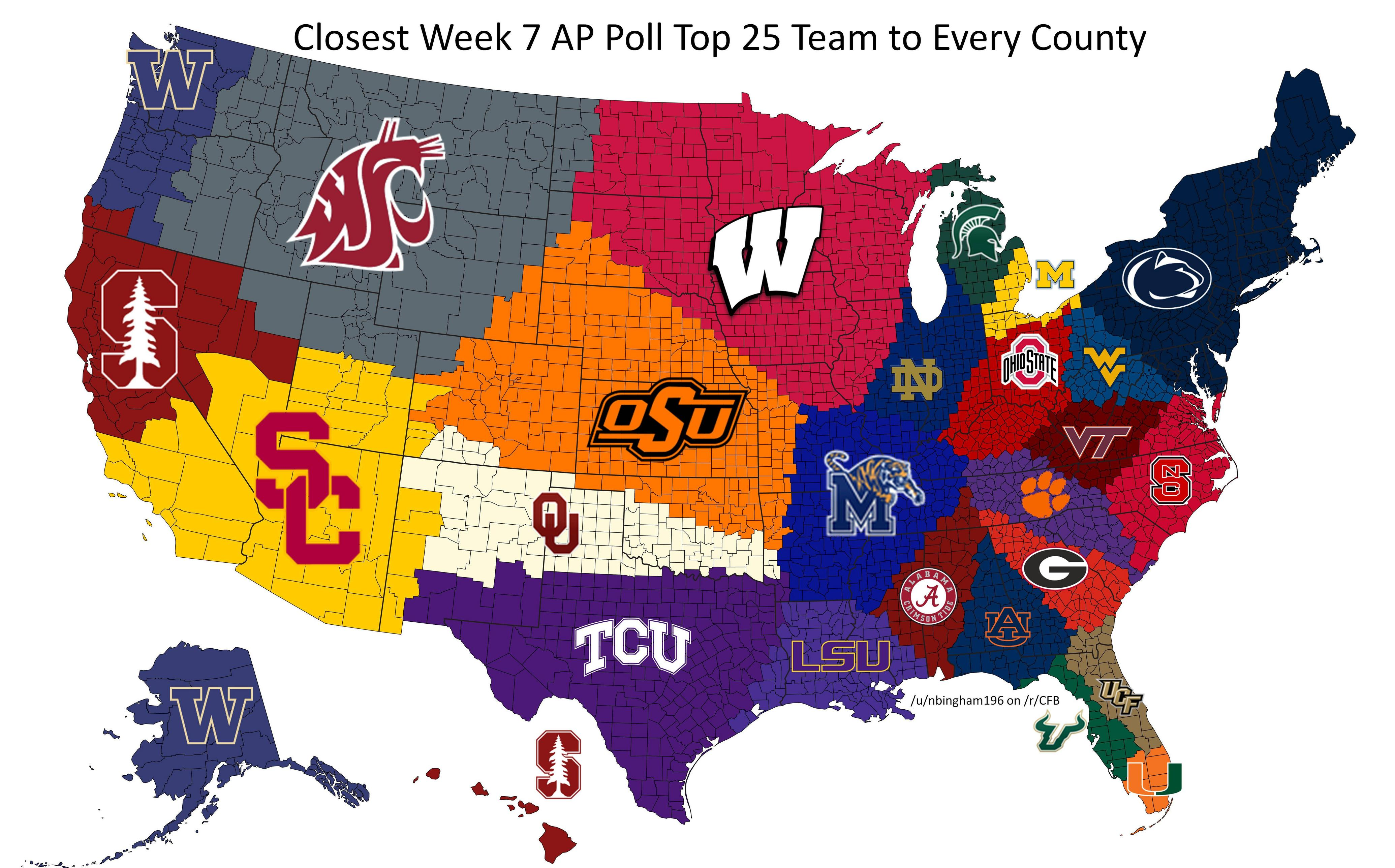 Reddit User Maps Closest AP Top Team To Every US County - Oklahoma on us map